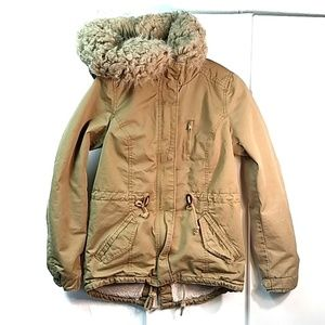 Divided Faux Fur Hooded Tan Jacket Size 4